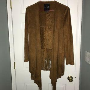 Brown suede fringe light jacket